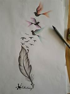 Pusteblume Schwarz Weiß Vögel : schreibende feder mit v gel by pandi tattoo entwurf tattoo vorlagen tattoo ideen und ~ Orissabook.com Haus und Dekorationen
