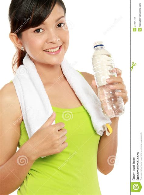 fitness woman drinking water stock images image