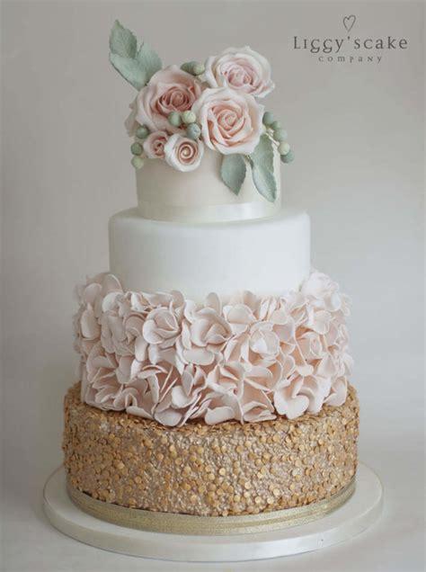gold sequin  peach petal cake wedding cakes