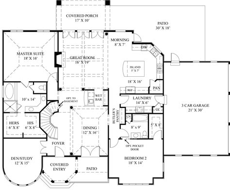 european house plan with two master suites