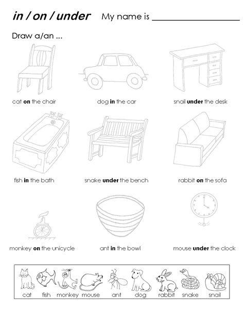 prepositions of place worksheets in on