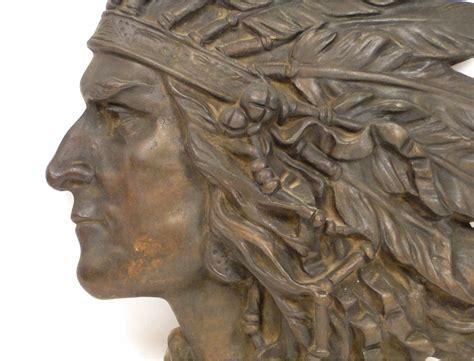 sculpture  bronze bas relief portrait  american indian