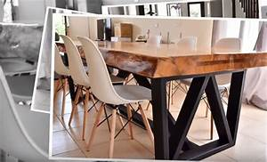 tutoriel une table pietement metal et plateau bois With fabriquer une table a manger