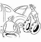 Coloring Pages Wife Husband Tire Flat Changing Helping Getdrawings Printable Getcolorings sketch template