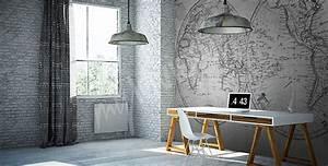 Papier Peint Bureau : papiers peints bureau mur aux dimensions ~ Melissatoandfro.com Idées de Décoration