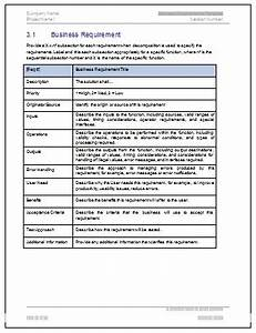 business requirements document template free business With business requirement specification document template
