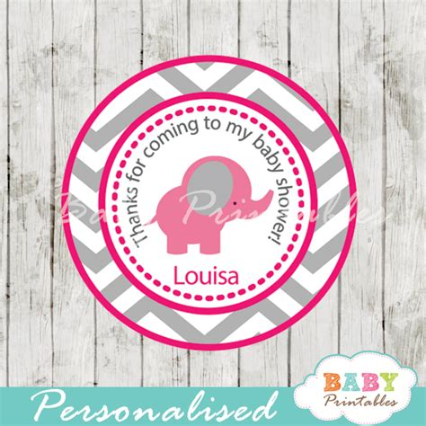 Free printable disney baby shower invitations. Hot Pink Elephant Baby Shower Favor Tags - D103 - Baby ...