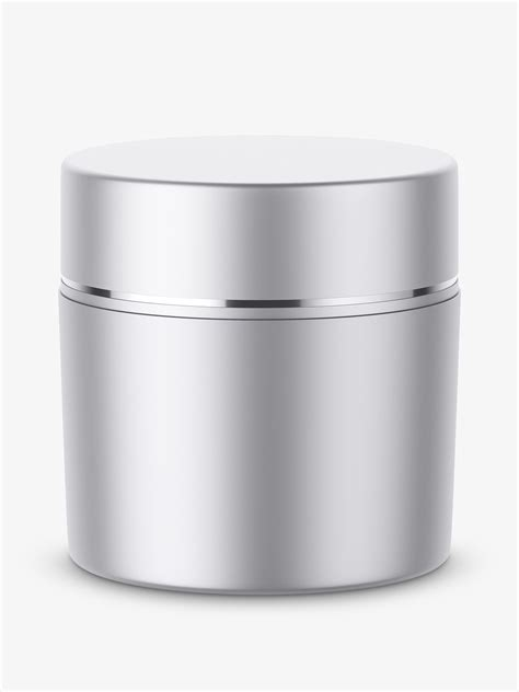 Contains special layers and smart objects for your artwork. Metallic cosmetic jar mockup - Smarty Mockups