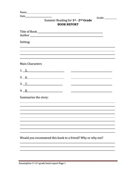 summer reading  st  grade book report printable
