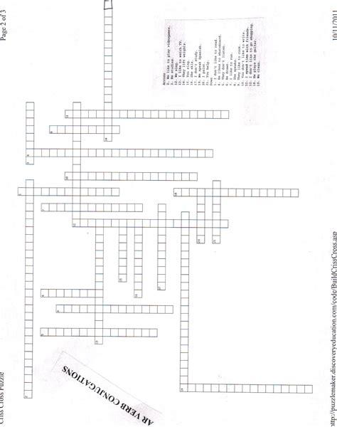 spanish crossword answers realidades  crossword