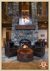 Love The Rustic Fireplace With Large Mirror And Leather