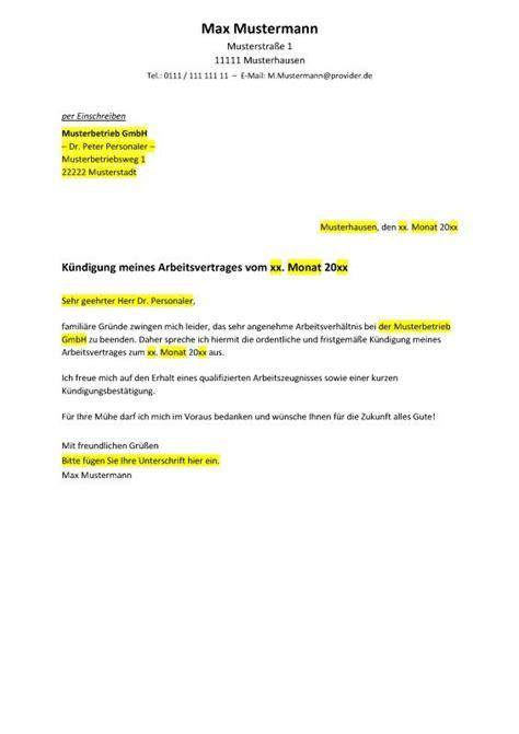 In welcher form muss die kündigung erfolgen? Freundliches Kündigungsschreiben in Vorbereitung auf einen Jobwechsel (Muster / Vorlage ...