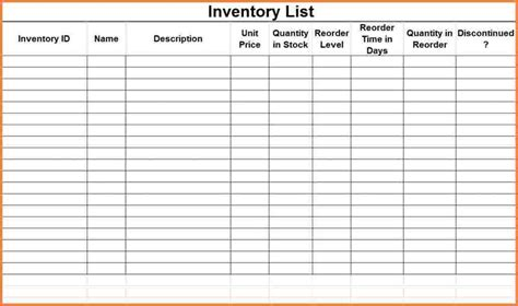 inventory list spreadsheet excel spreadsheets group