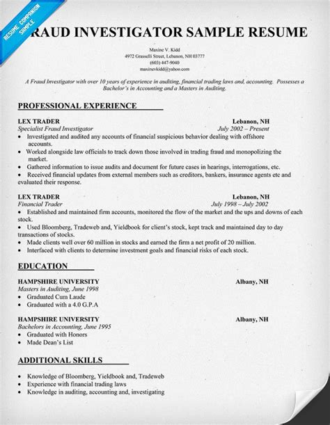 fraud investigator resume cover letter pin by resume companion on resume sles across all industries pin