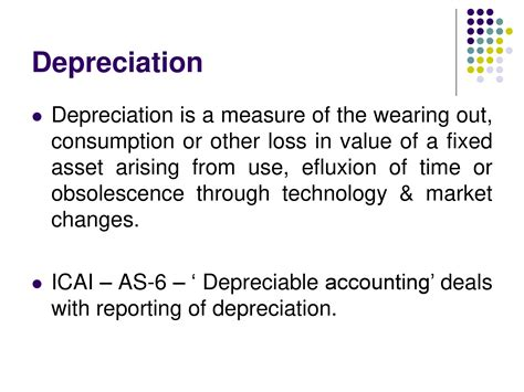 depreciation of fixed asset depreciation on fixed assets powerpoint slides