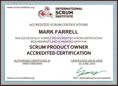 Certified Scrum Product Owner Resume by Certifications P Farrell S E Resume