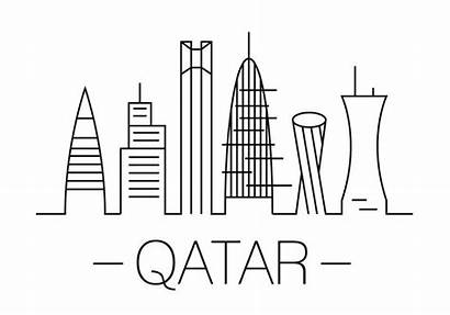 Qatar Vector Illustration Coloring Pages Clipart Template