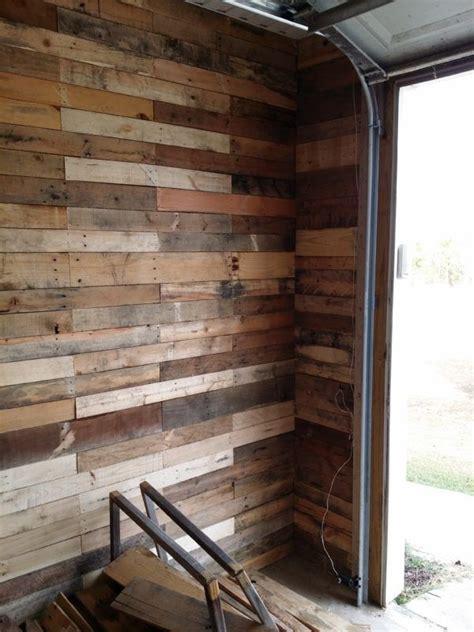 garage transformed  super pallet garage pallet wall