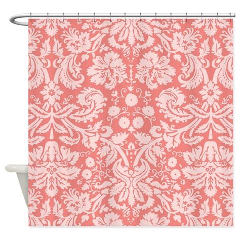 coral colored shower curtain coral pink damask floral shower curtain by clipartmegamart