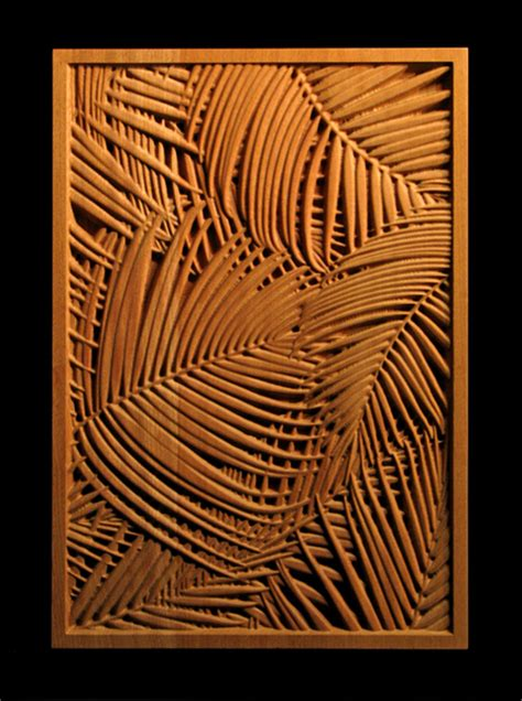 panel palm frond carved wood
