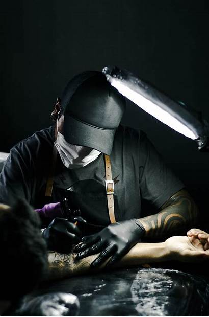 Tattoo Artist Arm Gloves Person Drawing Domain