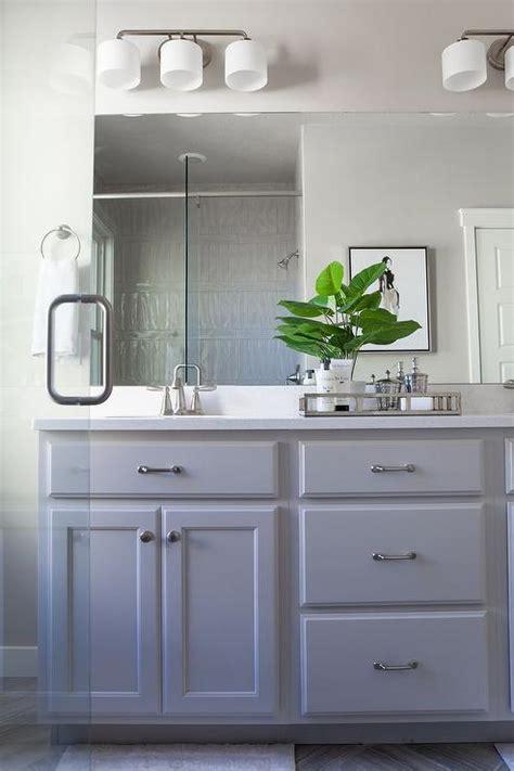 grey painted bathroom cabinets  satin nickel pulls