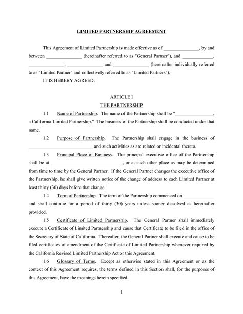 limited general partnership agreement templates