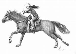 Cowgirl Full Out Drawing by Murphy Elliott