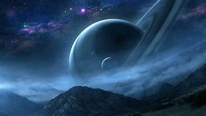 Saturn Night Scene Planet Painting Qauz Deviantart