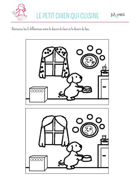 jeu des 5 erreurs le petit chien qui cuisine momes