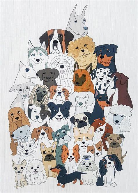 dog wall art pug gift beagle print husky illustration