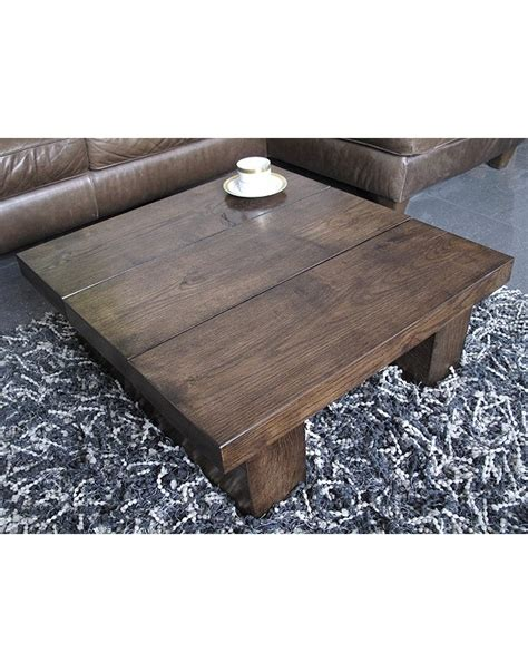 faux fur coffee table dark solid oak 3 board square coffee table hand made
