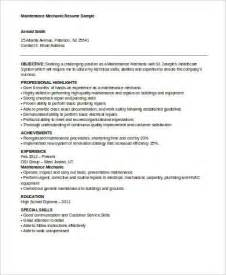 resume for maintenance mechanic sle mechanic resume 9 exles in word pdf