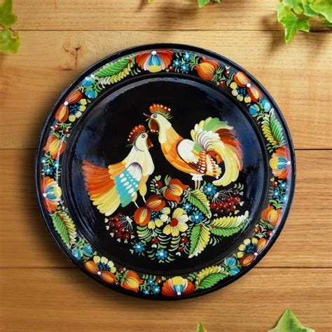 Decorative Chicken Plates - decorative plate painted wooden plate folk flowers