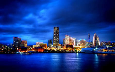 city ocean landscape night blue sky travel world hd