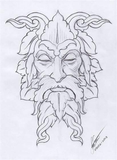 Greenman Sketch Making Wood Burning Pattern Carvings