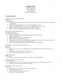 resume format sle document work resume template word