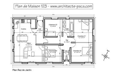 Plan Maison Plain Pied 4/5 Pièces, ± 180 M²d'architecte
