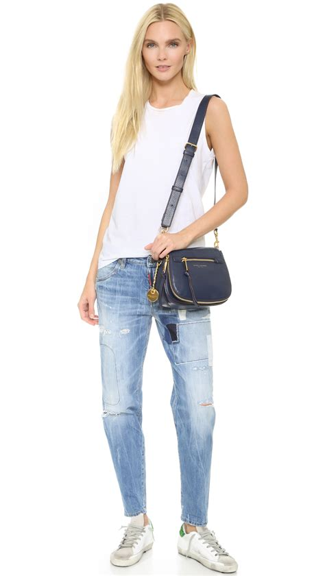 lyst marc jacobs recruit small saddle bag  blue