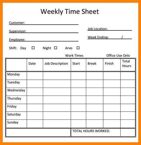 Weekly Timesheet Template Printable Weekly Timesheet Blank Weekly Timesheet Template