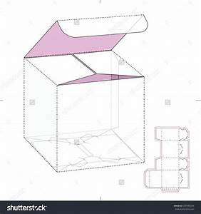 Retail Cube Box With Die Line Template Stock Vector