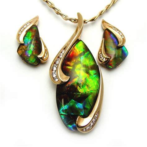 rare ammolite earring  pendant set tamron jewelry