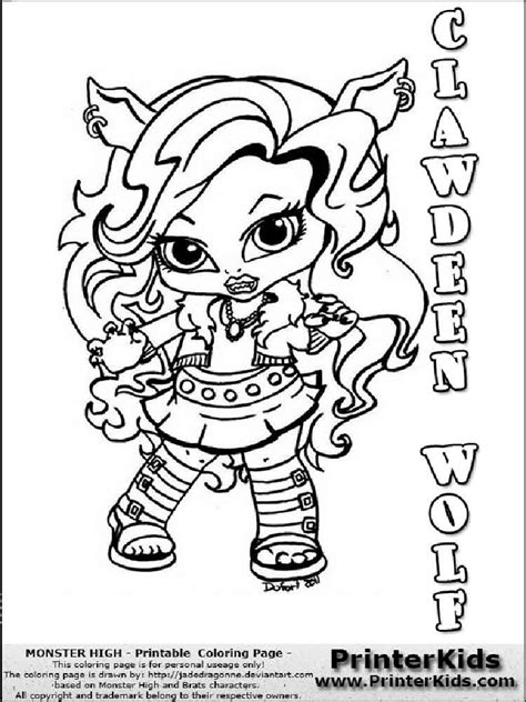 baby monster high coloring pages  printable baby monster high coloring pages