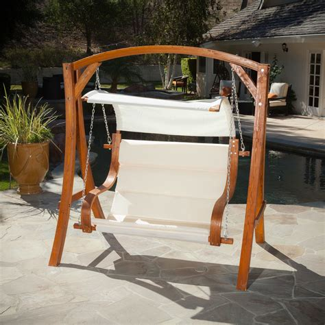 hanging wood bench seat chair swing patio outdoor