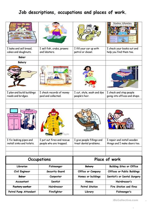 Job Descriptions, Occupations And Places Of Work Worksheet  Free Esl Printable Worksheets Made