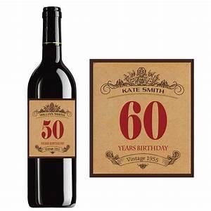 custom happy birthday wine label vintage bottle labels With 50th birthday wine bottle labels