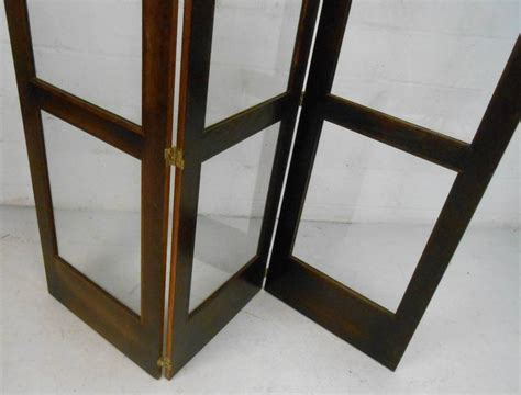 Unique Mid-century Modern Glass And Hardwood Room Divider