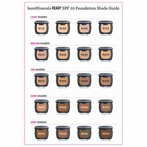 Glo Minerals Color Chart Bareminerals Ready Spf20 Foundation In Various Shades
