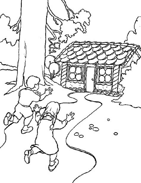 Kleurplaat Heks Hans En Grietje by Kleuren Nu Hans En Grietje Naar Het Snoephuis Kleurplaten