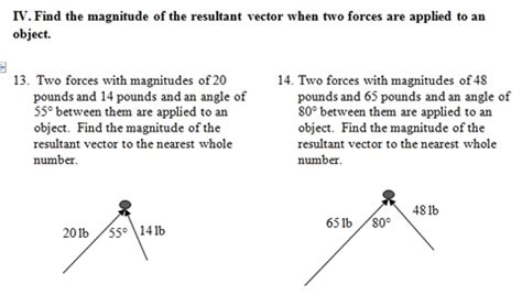 Vector Worksheet (pdf) With Key Focuses On Resultant Vectors 25 Problems